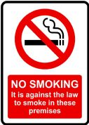 Against the law to Smoke Health and Safety Sign